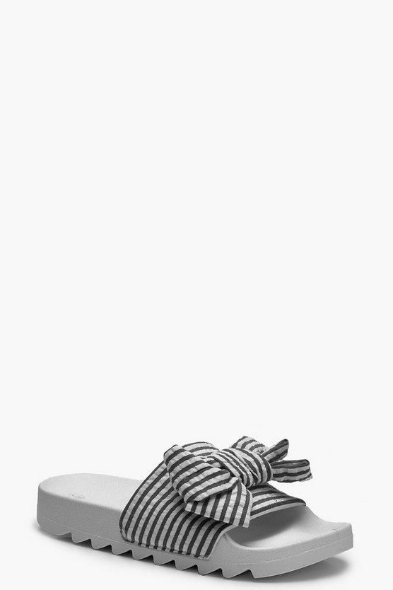 Lacey Stripe & Bow Detail Sliders