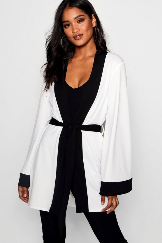 Beth Contrast Trim Belted Kimono