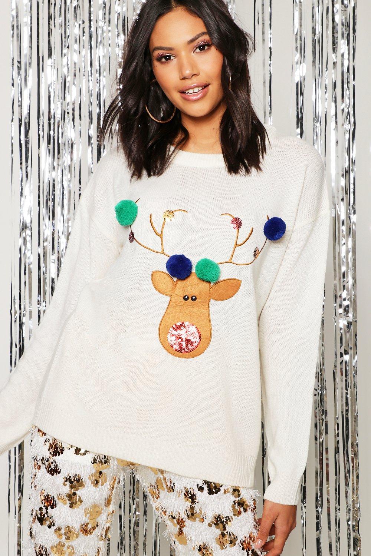 Womens Pullover mit Reindeer Applikation und Bömmelchen - creme - S, Creme - Boohoo.com