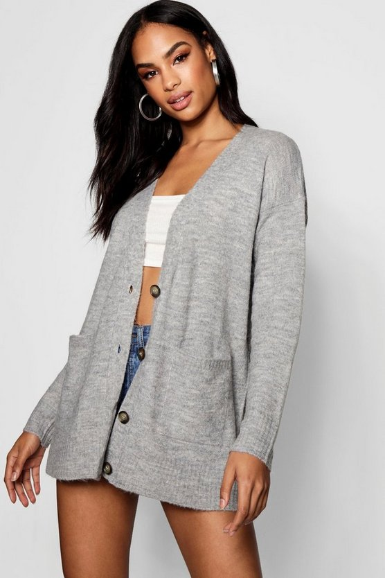 Mia Loose Fit Button Through Cardigan by Boohoo