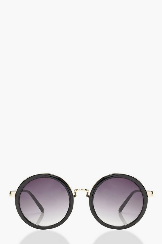 Lea Gold Contrast Round Sunglasses by Boohoo