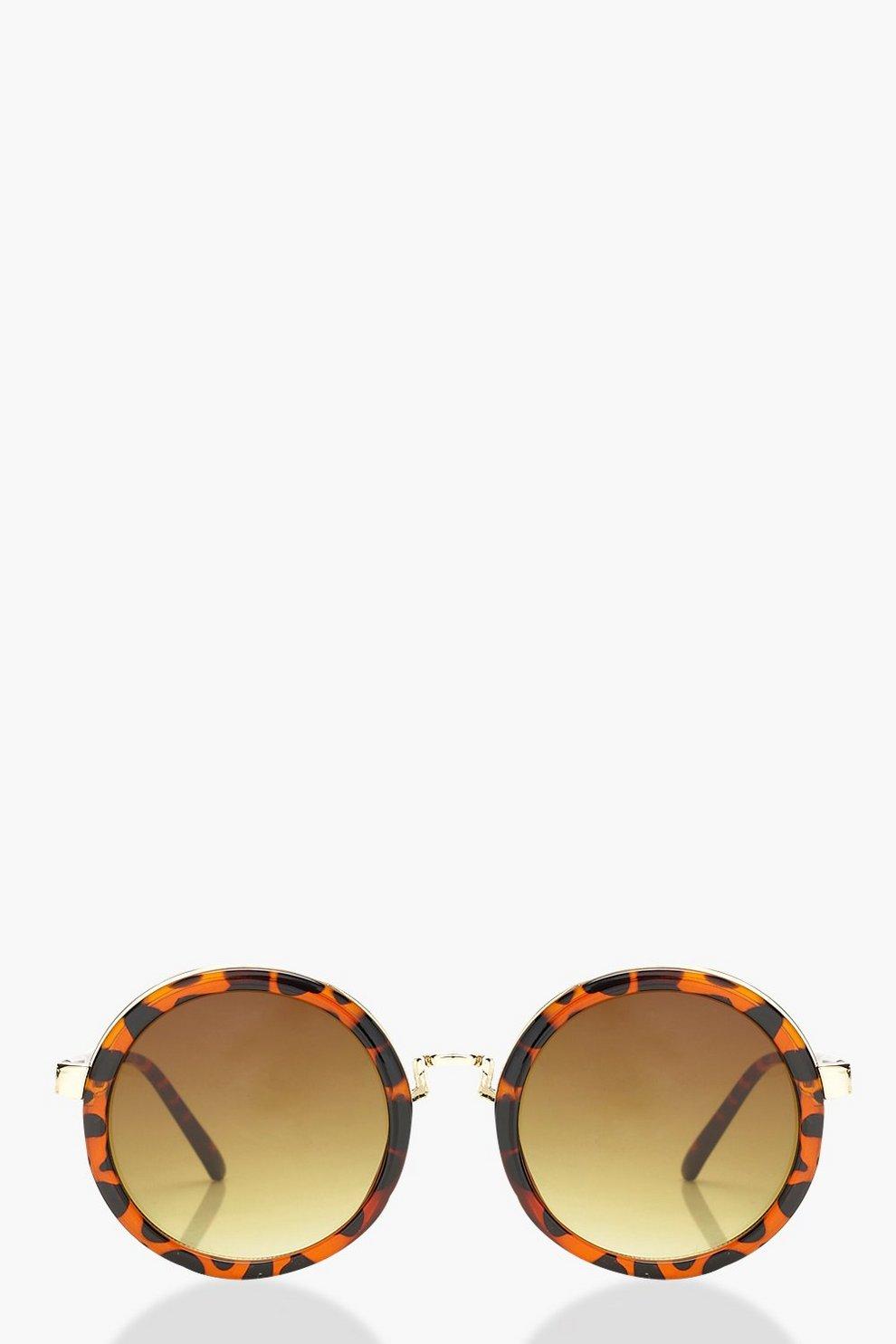 Kate kontrastfarbene, runde Sonnenbrille aus Schildpatt