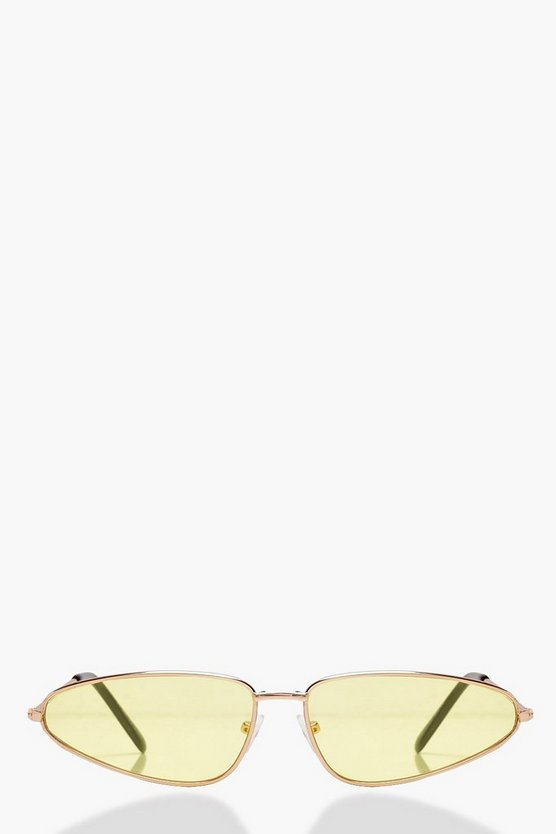Yellow Lens Skinny Aviator Sunglasses
