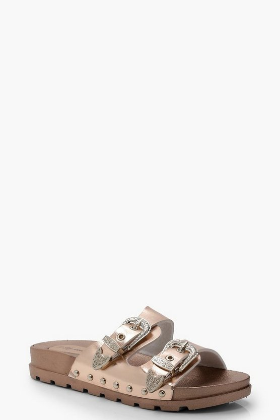 Buckle Detail Footbed Sandals