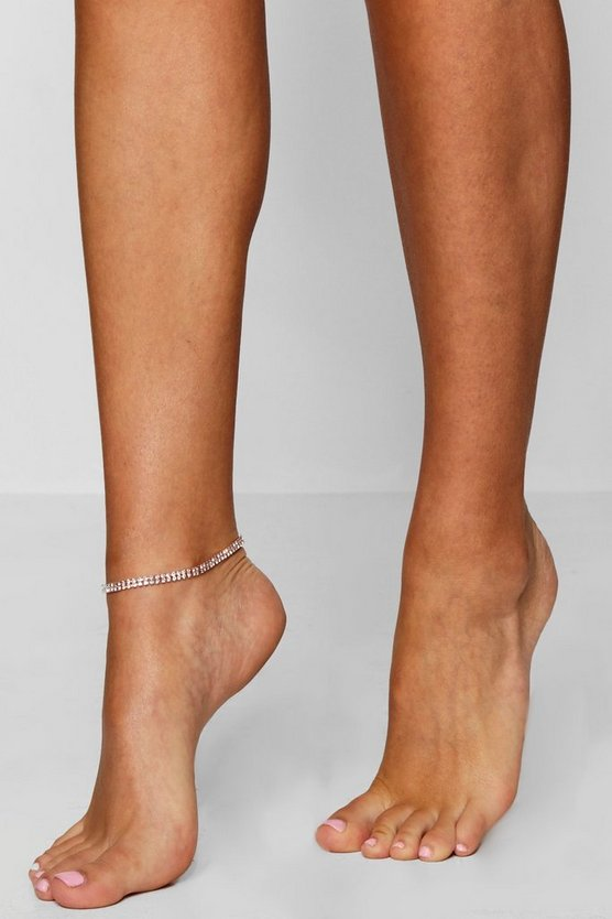 Amy Diamante Silver Anklet
