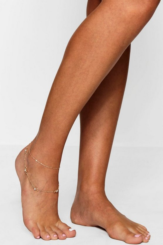 Yasmin Double Layer Diamante Detail Anklet
