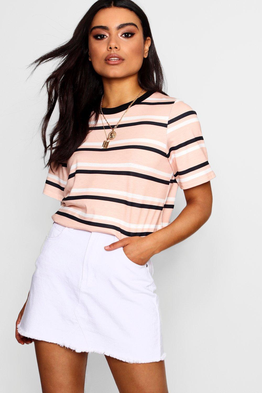Womens Gestreiftes T-Shirt - Altrosa - L, Altrosa - Boohoo.com