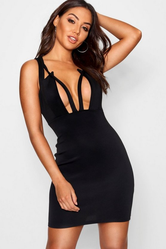 Katy Plunge Front Cut Out Bodycon Mini Dress