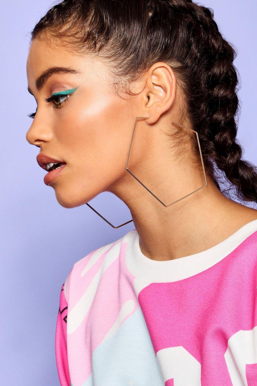 boohoo Womens Pentagon Hoop Earrings - Metallics - One Size, Metallics