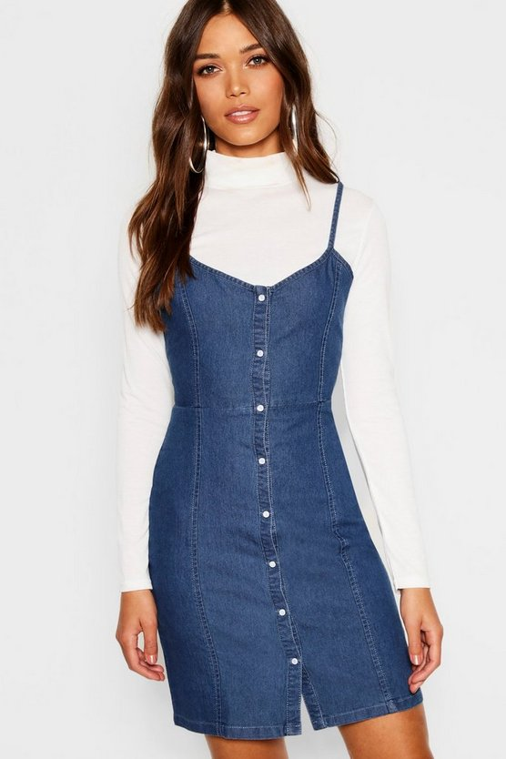Strappy Popper Front Denim Dress