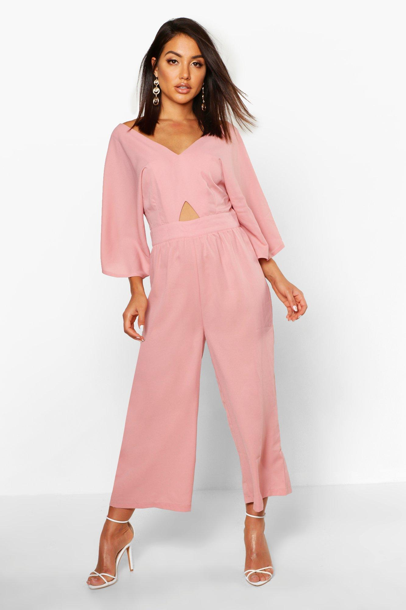 boohoo Womens Kimono Sleeve Culotte Jumpsuit - Pink - 14, Pink
