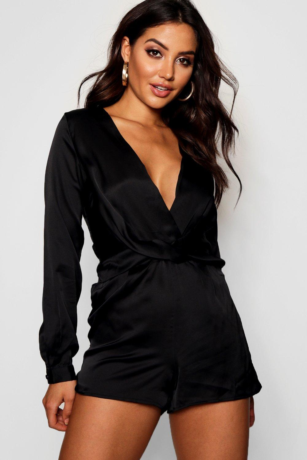 boohoo Womens Satin Twist Front Playsuit - Black - 12, Black