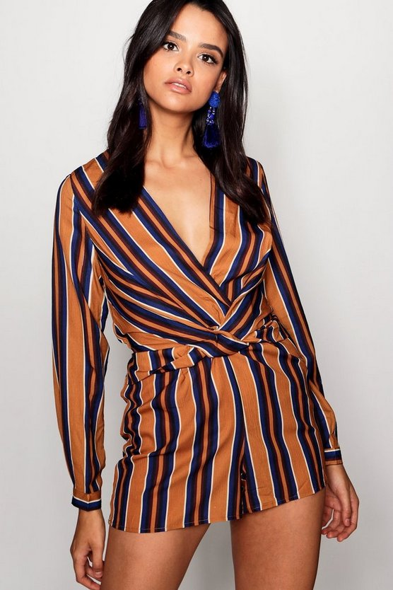 Twist Front Stripe Playsuit