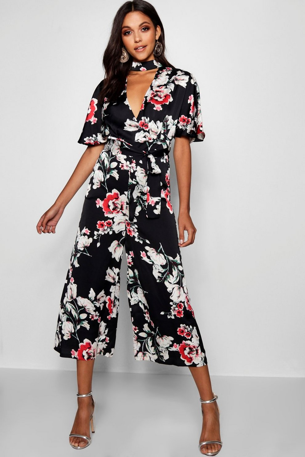 Discount Boohoo Floral Choker Style Culotte Jumpsuit Clearance Fashionable Purchase Cheap Best Prices Cheap Online Buy Cheap Amazon DhABUAYs