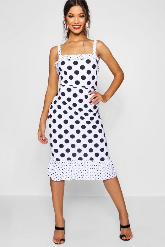 Jessie Ruffle Hem Polka Dot Midi Dress
