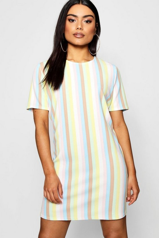 Pastel Stripe Short Sleeve Shift Dress