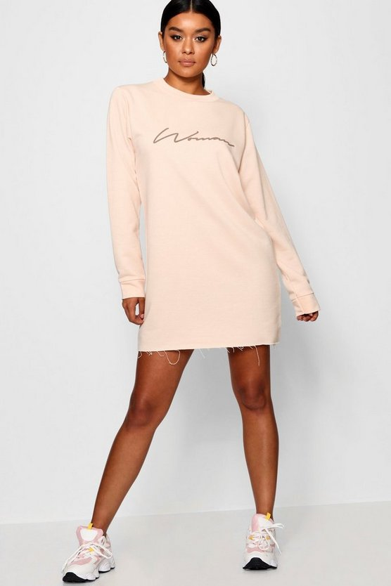Woman Slogan Loopback Sweat Dress
