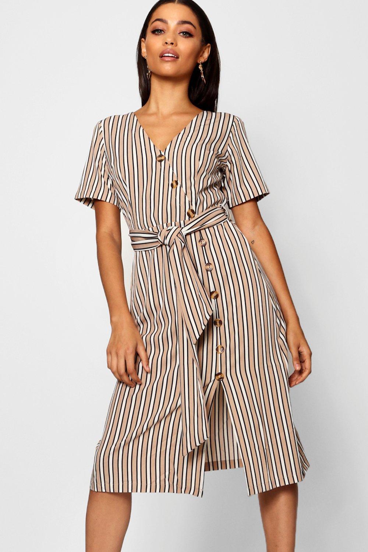 Купить Dresses, Миди-платье в полоску на пуговицах с короткими рукавами, boohoo