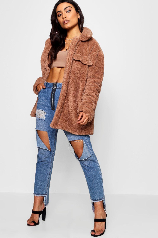 Купить Coats & Jackets, Комбинация Shacket из искусственного меха, boohoo