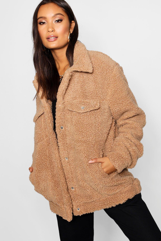 Faux Fur Coats Borg Trucker Jacket