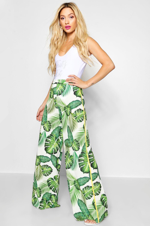 Купить Trousers, Широкие брюки с принтом в виде пальм, boohoo