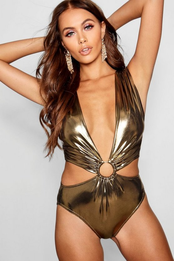 Paris Hilton Metallic O Ring Strappy Bodysuit