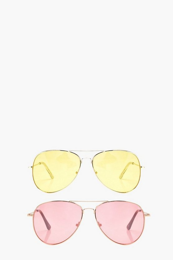 2 Pck Coloured Lense Aviator Sunglasses