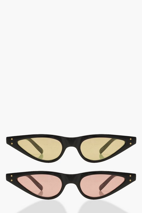 Tia 2 Pack Skinny Cat Eye Sunglasses