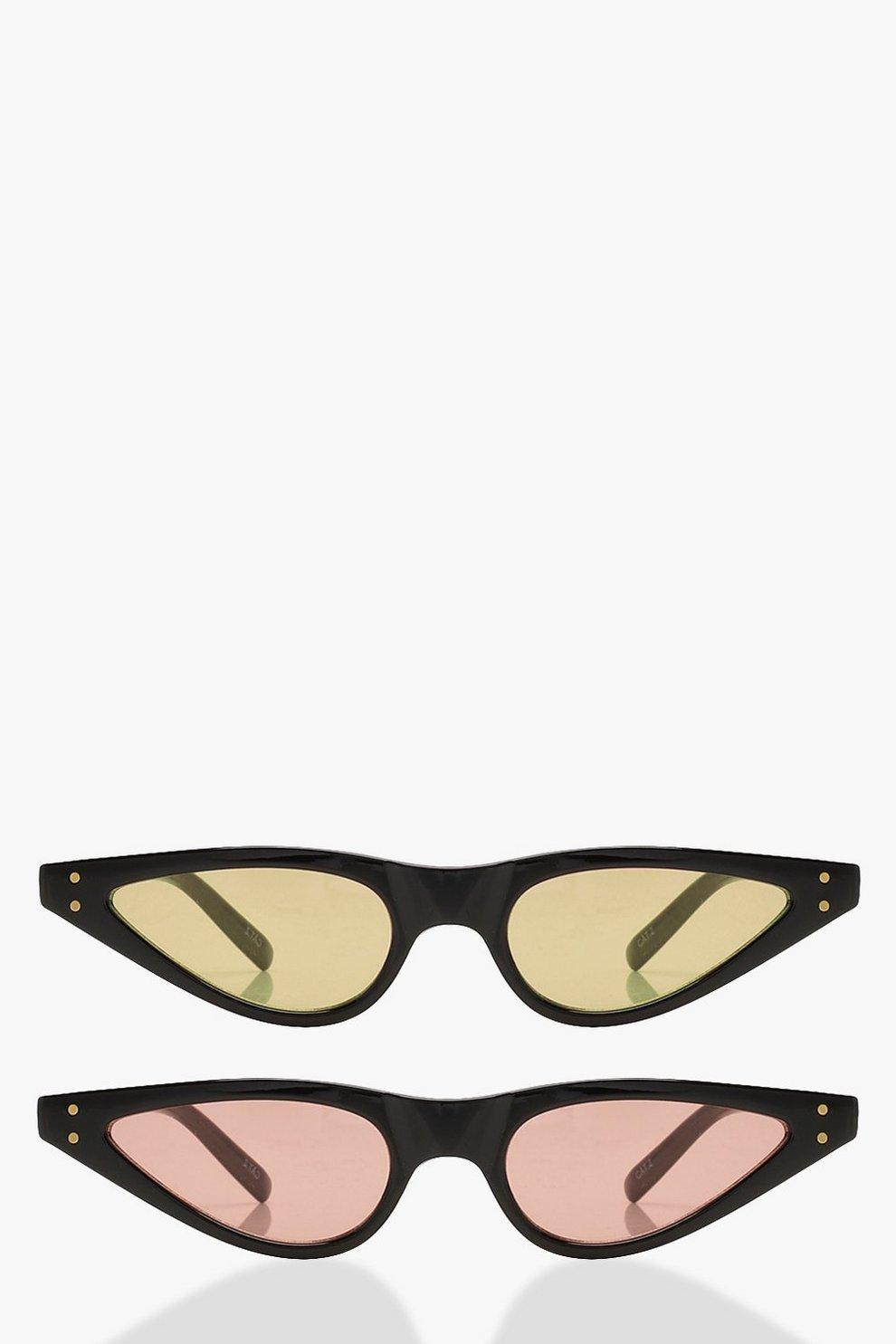 Tia 2er Pack Skinny Sonnenbrille mit Katzenaugenfassung wVcgL2roSx