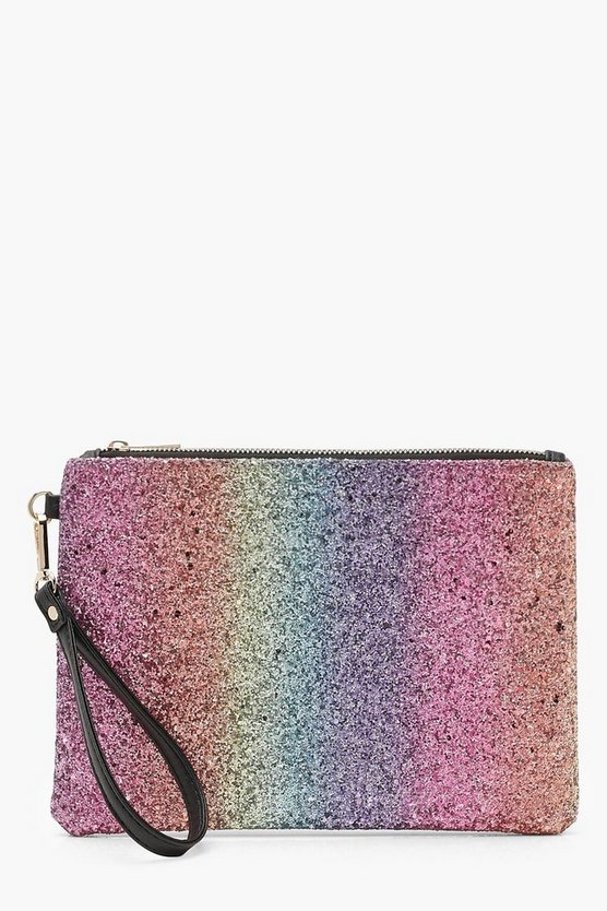 Julia Rainbow Glitter Ziptop Clutch
