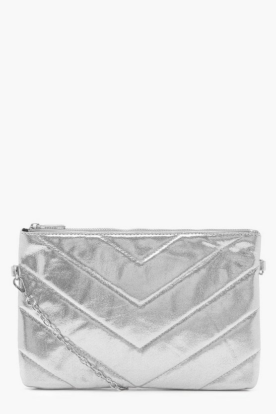 Mia Metallic Chevron Clutch With Chain