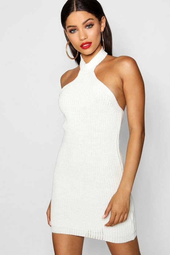 Racer Neck Knitted Bodycon Dress