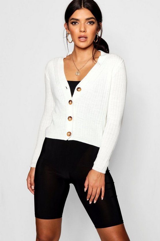 Leela Rib Detail Button Up Cardigan