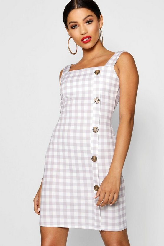 Square Neck Mock Horn Button Check Shift Dress