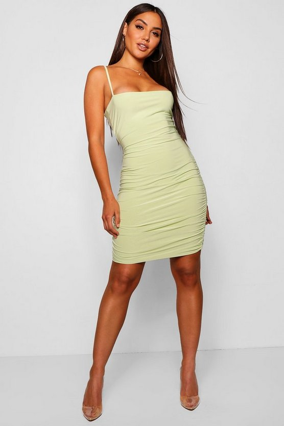 Double Slinky Ruched Bodycon Dress
