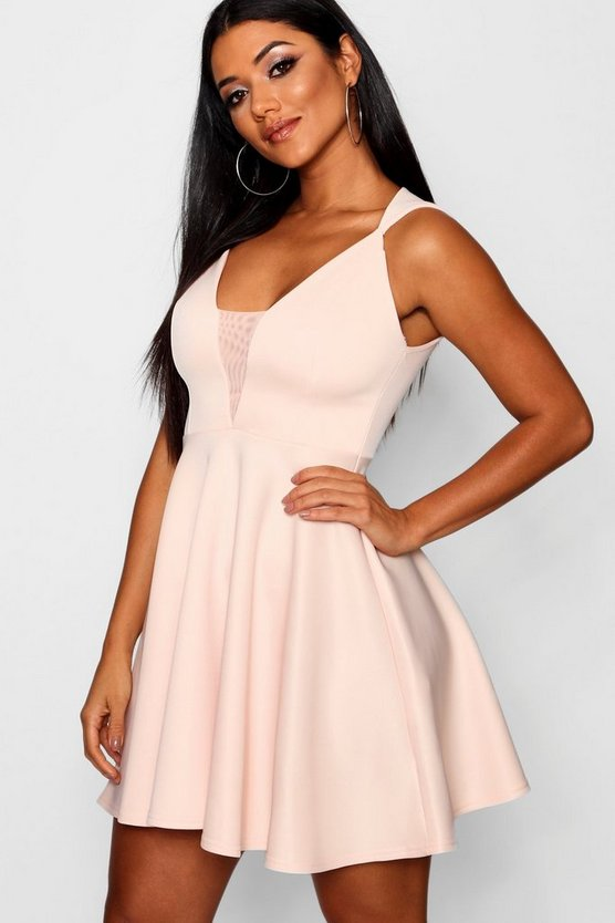 Mesh Insert Full Skirt Scuba Skater Dress