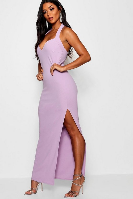 Mila Halter Strap Sweetheart Maxi Dress