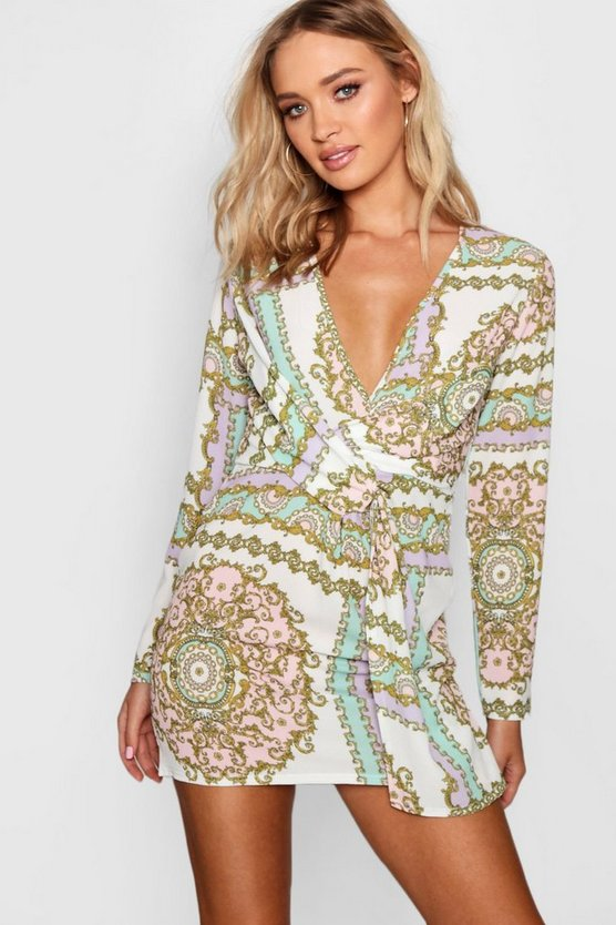 Scarf Print Twist Wrap Shift Dress