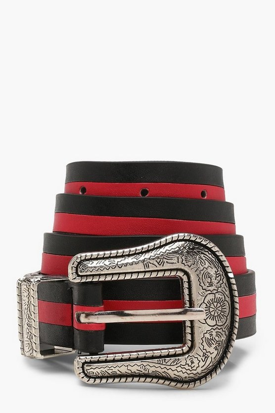 Sports Stripe Western Buckle Belt