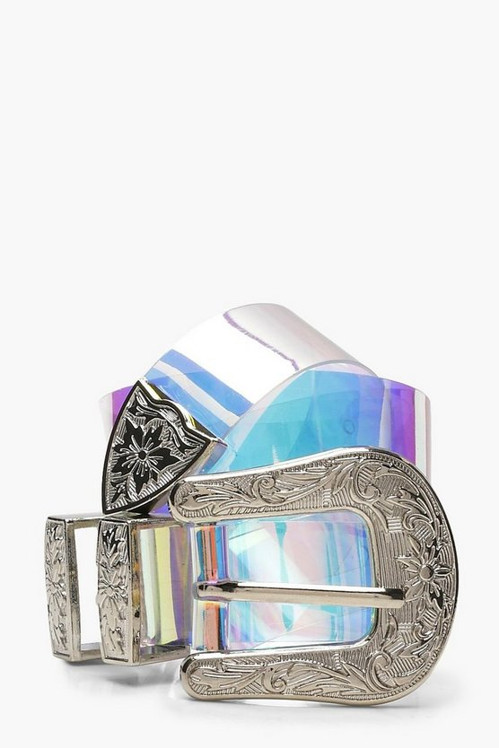 Iridescent Holographic Western Belt