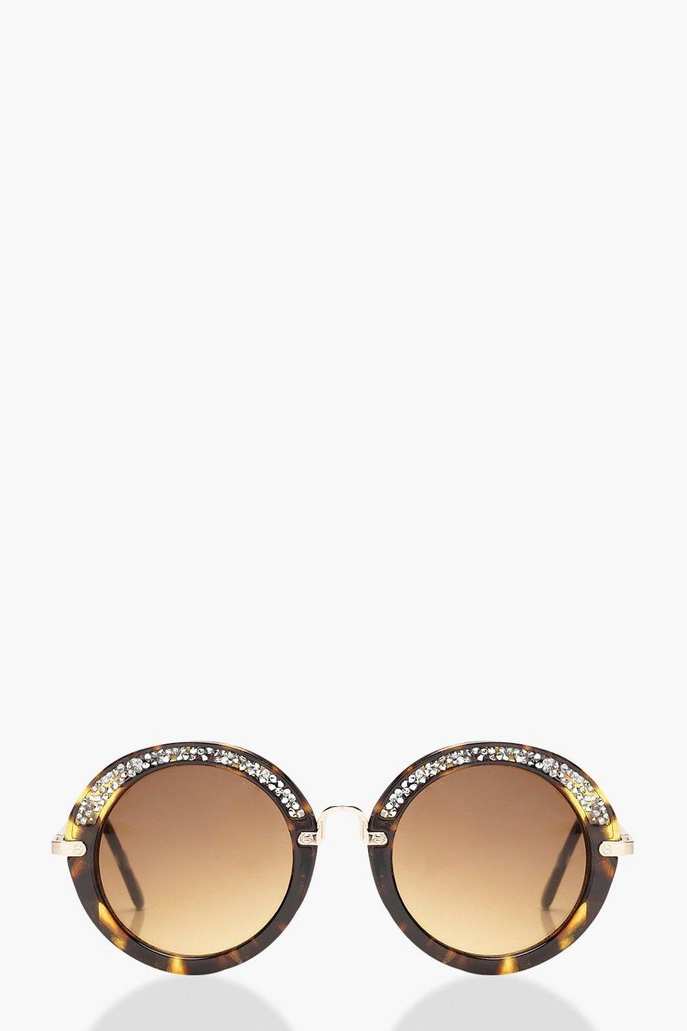 Mia strassbesetzte, runde Sonnenbrille aus Schildpatt