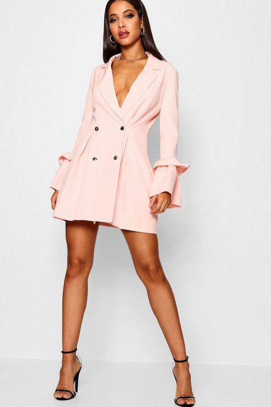 Allana Ruffle Flared Sleeve Blazer Dress