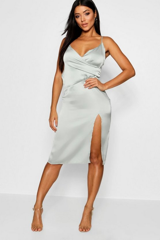 Satin Slip Wrap Detail Dress