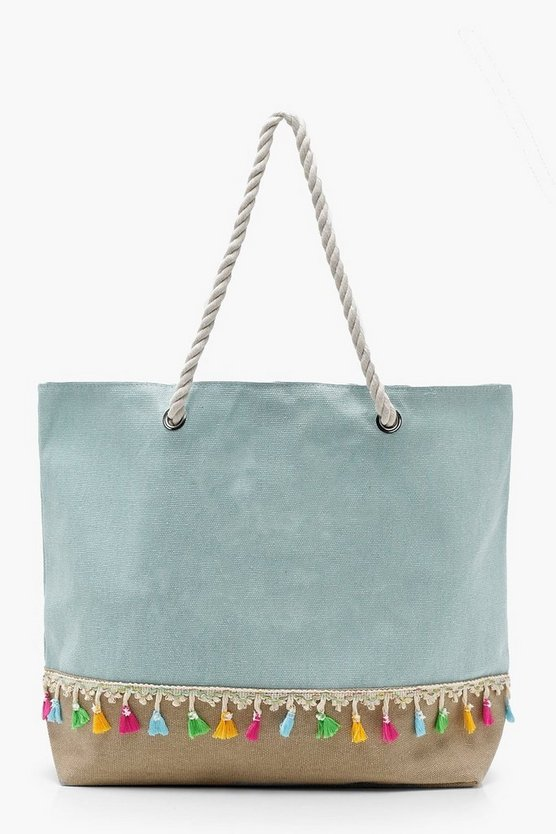 Tassel Trim Rope Handle Beach Bag