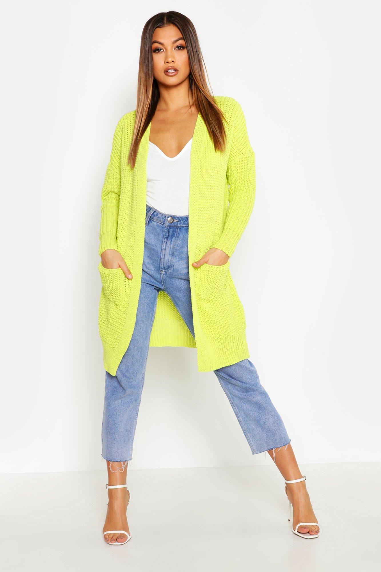 Womens Übergroßer Boyfriend-Cardigan - lime - S/M, Lime - Boohoo.com