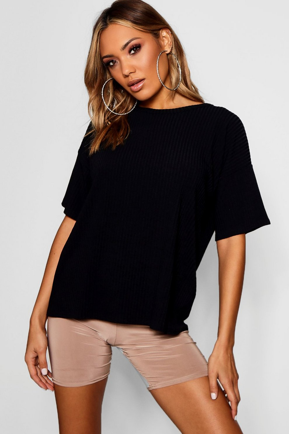 Boohoo Oversized Boxy Rib Knit T-Shirt Reliable Cheap Price 80X1NNc2CZ