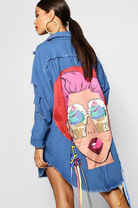 Embellished Motif Longline Denim Jacket