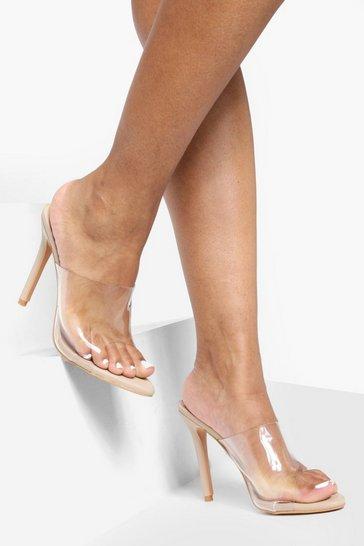 Nude Pointed Toe Clear Mule Heels