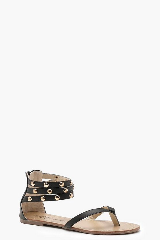 Multi Strap Studded Sandals