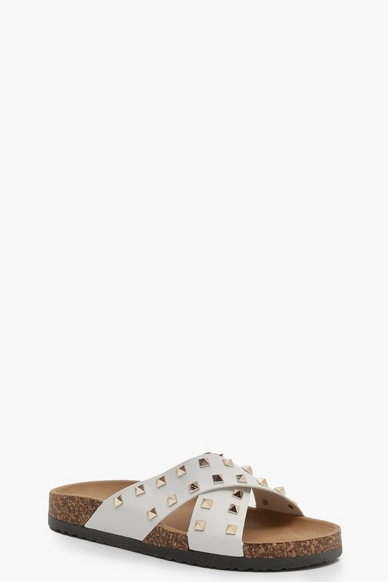 Ruby Studded Cross Strap Footbed Sliders